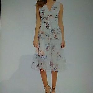 Ivanka Trump Floral Print Organza Midi Dress